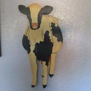 Vintage wood cow wall art